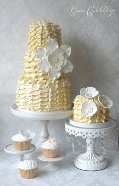 too. cute. Three Tier Ruffle Cake with Matching Mini Cake and Cupcakes « The Cupcake Blog