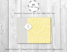 Chic Lemon Floral - DIY Printable Monogram Note Card Template - Add Text, Print, Trim, Fold, Done! Unlimited Personal Prints. MCS.0094 by DIYNotecards on Etsy