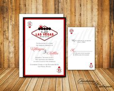 Las Vegas Wedding Invitations in Red and Black by catharynne, $3.00