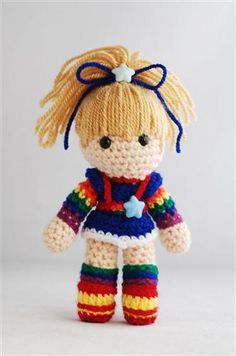 "Crochet Rainbow Brite doll. Approx 6"" tall"