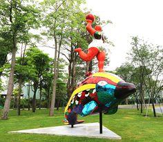 Niki de Saint Phalle - Nana on a dolphin, 1998 Ando Art Museum, Asia University, Taichung, Taiwan.  Public Works