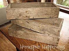 Boxes Made From Pallet Wood.  Would love a long skinny one for kitchen table filled with pine and berries.