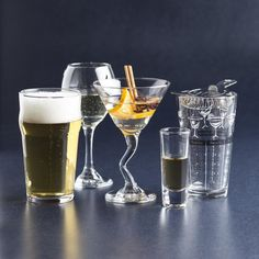 Be prepared to host the perfect party with the Libbey Entertainment Stemware Set. This set is the ultimate base to your barware collection. The set includes beer, martini, wine and shot glasses. Also included is a cocktail shaker and strainer. Knife Block Set, Shot Glasses, Bakeware, Perfect Party, Kitchen Gadgets, Pint Glass, Cookware, Martini Wine, Great Gifts