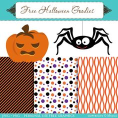 Free Halloween printables: 3 patterned papers + 2 clipart images