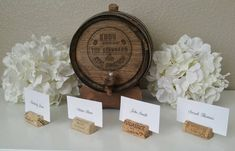 Recycled wine cork place card holders perfect for any wine or vineyard themed wedding, rehearsal dinner, or engagement party! These place card holders look beautiful displayed on your escort card and guest tables for your big day! Each cork features a slit top and a flat bottom for