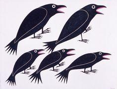 Dancing Ravens by Kenojuak Ashevak, Inuit artist Inuit Kunst, Arte Inuit, Inuit Art, Crow Art, Raven Art, Bird Art, American Indian Art, Native American Art, Illustrations