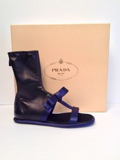 Prada Leather and Satin Bow Sandals Size 7.5 NEW