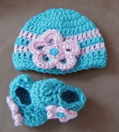 Handmade Crochet Booties Hat Set Flower Beanie Shoes Teal Pink 0 3 Months | eBay