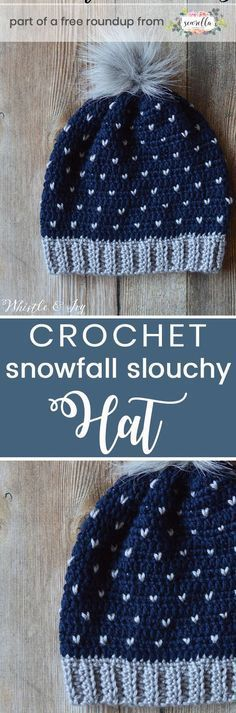 Get the free crochet pattern for these faux knit crochet snowfall slouchy hat from Whistle & Ivy featured in my crochet that looks knit FREE pattern roundup!