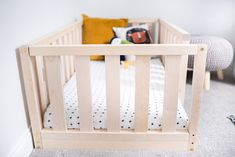 New US Crib Size Toddler bed Play bed frame Children bed Bunk bed Wood Floor bed Wooden bed Wood Montessori bed Gift, Bed frame