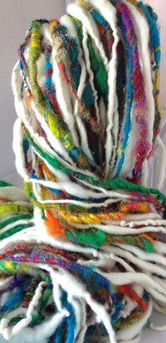 Handspun  Yarn  Ribbons In The Sky by TerraBellaSpun on Etsy, $30.00