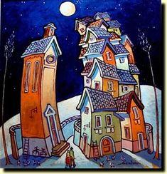 Le casette di Scalvini - I quadri di Severo Scalvini dove prendono forma gli oggetti, le case, le figure, gli animali. Artista contemporaneo vive e lavora a Bovezzo (Brescia) in via 1° maggio, 25