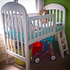cot or crib loft bed recycling crib to extend life and make space