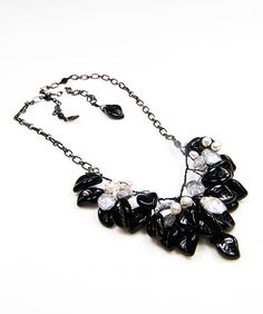 Black Gray Beaded Necklace, Bib Necklace, Leaf Necklace, Vintage Style Jewelry