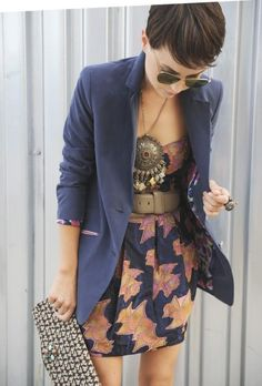 Floral dress with a blazer