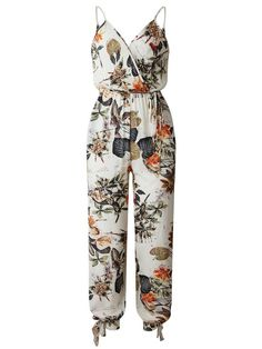 This Beige Floral Split-Leg Jumpsuit - Women is perfect! Long Jumpsuits, Jumpsuits For Women, Split Legs, Red Romper, Long Sleeve Romper, Fashion Seasons, One Piece Dress, Leaf Prints, Wholesale Fashion