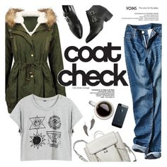 """Coat check"" by purpleagony ❤ liked on Polyvore featuring women's clothing, women's fashion, women, female, woman, misses, juniors, fall2015 and yoins"