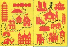 """endpapers from """"Come Over to My House"""", Richard Erdoes 1966"""