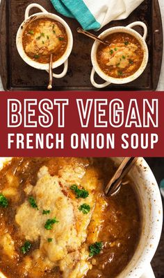 Luscious vegan french onion soup with caramelized onions for a lovely, deep flavor. This vegan version still has those deep flavors with no animals harmed. Vegan Lunches, Vegan Snacks, Vegan Desserts, Vegan French Onion Soup, Best Vegan Recipes, Vegan Breakfast, Caramelized Onions, Carmelized Onions, Vegan Meals