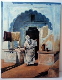 Washing Day Painting - Original Oil Painting of Indian Lady with Washing by Artist Suzie Nichols (India washing sari archway Indian ) - pinned by pin4etsy.com