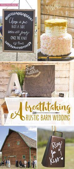 A breathtaking rustic barn wedding - country wedding - Press Print Party! affordable wedding decorations ideas, wedding favors, DIY wedding, AA barn Grand Lake, Colorado, Rustic wedding, wedding flowers, Summer wedding, simple wedding theme