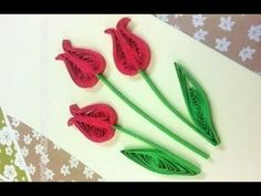 Quilling Made Easy # How to make Red Green Flower Design using Paper Art Quilling -Paper Quilling