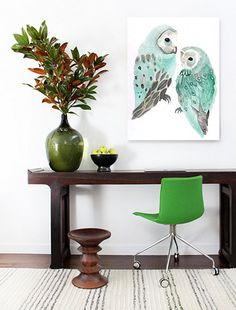 Love the desk and green chair. Love, love that green. I want one of everything in that shade of green.