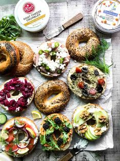 Jul 2019 - Bagel Toast ~ whether it's a Game Day bagel bar for a crowd, or a snack for one, these bagel toasts are hearty, healthy, and yummy ~ you can layer them up in a million delicious ways! Bagel Toppings, Bagel Bar, Bagel Fillings, Bagel Breakfast Sandwich, Bagel Shop, Toast Sandwich, Healthy Bagel, Healthy Brunch, Quick Snacks