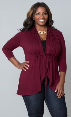 Yes! plus size Sunset Stroll Bellini in a beautiful Cabernet. 《《《《Not lovin' the necklace, but the top is cute.