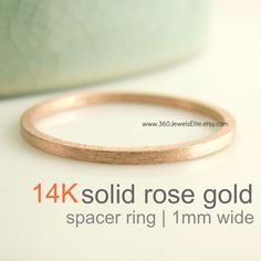 1mm Tiny 14K Solid Rose Gold Wedding Band in by 360JewelsElite