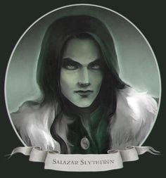 Salazar Slytherin.  If he isn't just the creepiest thing you've ever seen . . .