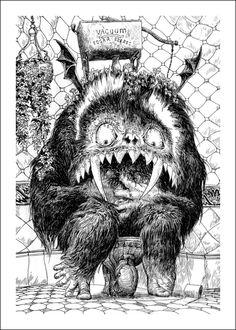"Laurent Gapaillard illustration for ""Le Yark"". Ink Pen Drawings, Love Drawings, Drawing Sketches, Tattoo Drawings, Sketching, Monster Illustration, Children's Book Illustration, Book Illustrations, Monster Tattoo"