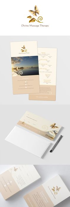 Print material for Divine Massage Therapy. Includes business cards, gift…