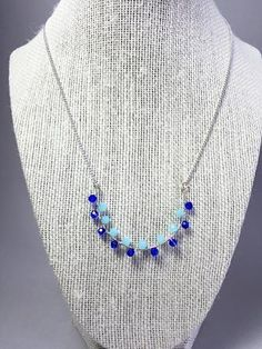 Light blue and dark blue wire wrapping Sterling silver necklace