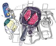Cartoon Sketches, Art Sketches, Art Drawings, Food Illustrations, Illustration Art, Food Sketch, Sketch Notes, Sketch Painting, Food Drawing