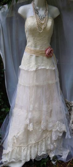 Ivory mermaid dress wedding beaded tiered lace vintage tulle bride outdoor  romantic small by vintage opulence on Etsy
