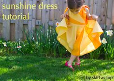 Pretty sundress pattern for little girls - although I would swap the floppy ties for ribbon tied into bows.