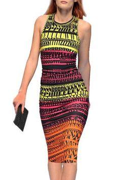 Stylish Round Neck Sleeveless Full Letter Print Women's Bodycon Sundress