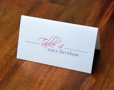 Personalized Escort Card, Place Card, Wedding, Reception, Seating Chart, Table Numbers, Table Card, Table Tent, Custom, Simple, Elegant. $0.65, via Etsy.