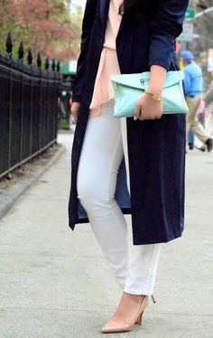 {Spring Weekends} Zara Navy Draped Trench, Piperlime Asymmetric Top, White Denim, Mint Clutch, Nude Heels