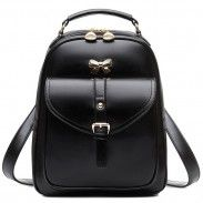 Sweet Lady Bow Buckle Student Bag Simple PU School Backpack