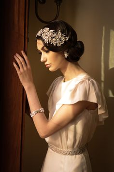 Our grande bandeau, bracelet and sash, all available at www.LeftBankBridal.com Styling & Photo by Sonia Roselli