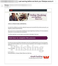 According to this email, which purports to be from Australian bank Westpac, a review has identified an issue regarding the safe use of your account. #phishing #Westpac