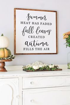 Fall Wood Sign with Calligraphy, Fall Leaves Created Autumn Fills the Air Sign, Fall Farmhouse sign decor, Autumn Sign, Rustic Fall Decor Fall Wood Signs, Diy Wood Signs, Vinyl Signs, Fall Signs, Sideboard Decor, Dining Room Sideboard, Window Signs, Happy Fall Y'all, Room Signs