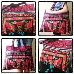 Beauty Big Bag Red Embroidery Chinese Hmong Hilltribe in Thailand Thai Style, Big Bags, Needle And Thread, Handmade Bags, Boho Fashion, Ideias Fashion, Purses And Bags, Embroidery, Trending Outfits