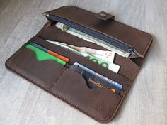 Long wallet billfold wallet leather wallet by LTLeatherCrafting
