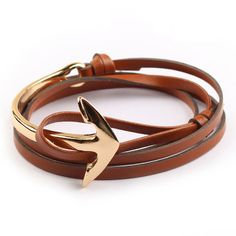 68cm Tom hope New Arrival Fashion Jewelry PU Leather Bracelet Men Half Bend Anchor Bracelet Hooks Bracelets For Gift >>> Want to know more, click on the image.