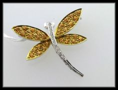 18K Yellow Sapphire Dragonfly Pin Brooch Diamond Solid Gold New   eBay - This is the nicest dragonfly brooch you'll find on ebay - solid gold, natural gems, well constructed of fine materials.  It's super nice!