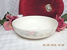 Wyndham by Pfaltzgraff White W/Pink and Gray Flat Round serving bowl  #noritake #lotion #Handmade #teacup #Replacement #bath #plate #limoges #doulton #antique