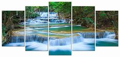 Wieco Art - Peaceful Waterfall 5 Panels Modern Giclee Canvas Prints Artwork Landscape Pictures to Photo Paintings on Canvas Wall Art Décor for Living Room Bedroom Home Decorations P5RLA027_f1 Wieco Art http://www.amazon.com/dp/B019MQFWKA/ref=cm_sw_r_pi_dp_3Ki9wb0TMN2B2